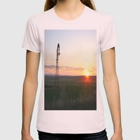 Montana Sunset Womens Fitted Tee Light Pink SMALL