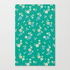 blossom ditsy in emerald Canvas Print