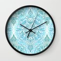 Turquoise Blue, Teal & White Protea Doodle Pattern Wall Clock