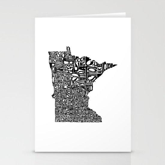 Typographic Minnesota Stationery Card