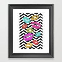 Chevron Kisses Framed Art Print