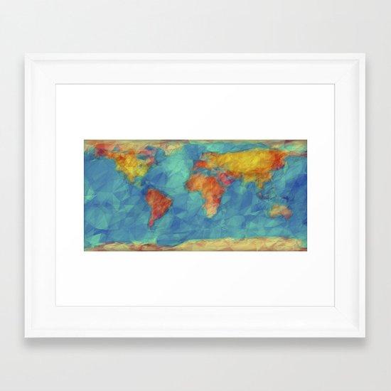 World map framed art print by jr schmidt society6 for World map wall print
