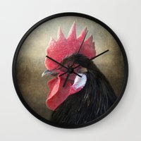 Black Rooster Wall Clock