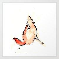 Scratchy Fox Art Print