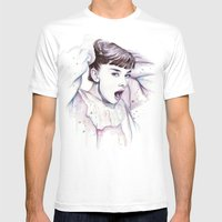 Audrey Hepburn Watercolo… Mens Fitted Tee White SMALL