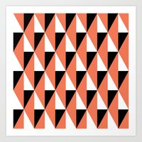 Salmon & black triangle mid-century pattern Art Print