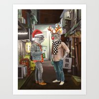 A Cats Night Out Christm… Art Print
