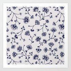 Indigo Floral Trail (reversed) Art Print