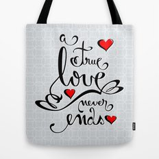 Valentine Love Calligraphy and Hearts Tote Bag