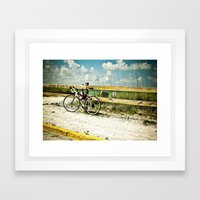Bicycle on Beach Framed Art Print