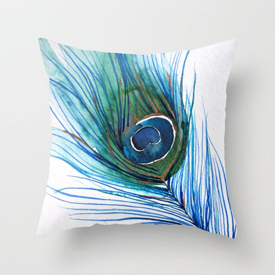 Peacock Feather I Throw Pillow