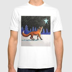 Christmas Fox SMALL White Mens Fitted Tee