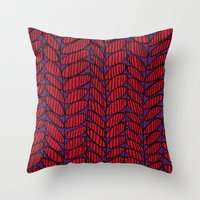 Leaves drawn and digital pattern Throw Pillow