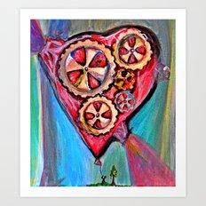 Pulling down the heart balloon Art Print