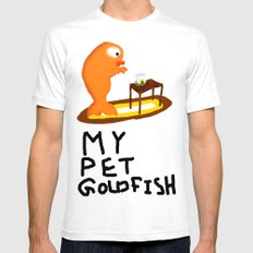 My Pet Goldfish. SMALL White Mens Fitted Tee