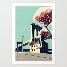 A pretty day at the brooklyn bridge Art Print