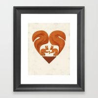 Love Heart Squirrels Framed Art Print