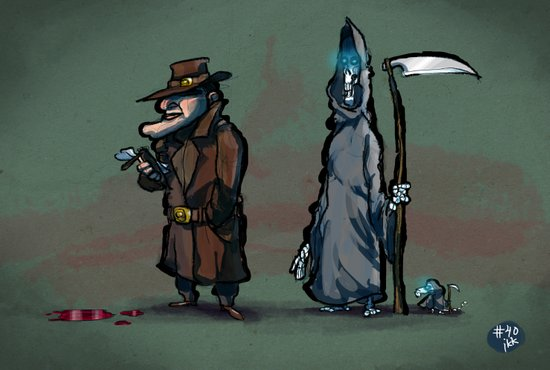 #40 Discworld Noir: Lewton, Death and Death of Rats Art Print