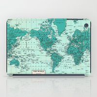 World Map in Teal iPad Case