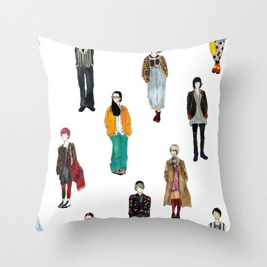 Japanese Street Snap Throw Pillow