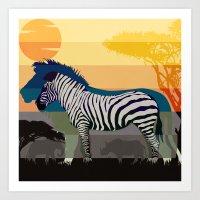 Sunset In Savanna Art Print