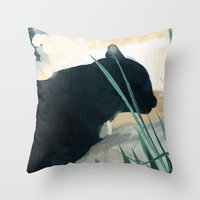 Skelly Cat In The Grass Throw Pillow