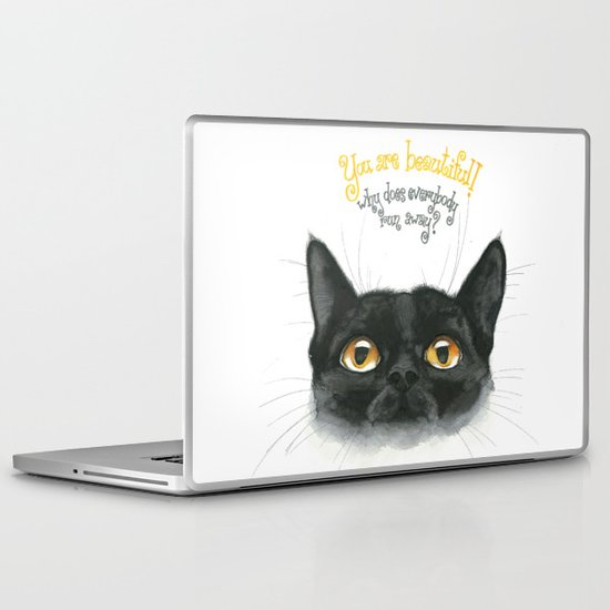 Black - Cat Laptop & iPad Skin