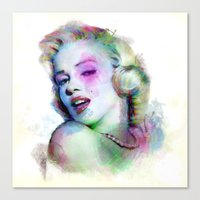 Marilyn under brushes effects Canvas Print