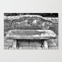 Canvas Print featuring Lone Bench by Lindsey