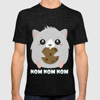 Nom Hamster Mens Fitted Tee Tri-Black SMALL