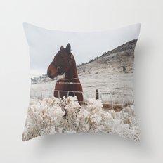 Snowy Horse Throw Pillow