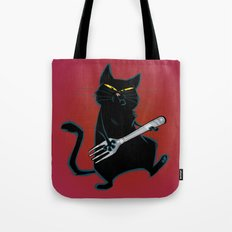 Cat with a fork Tote Bag