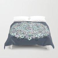 Flower Circle, mist blue Duvet Cover