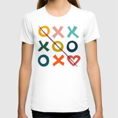 xoxo Love Womens Fitted Tee White SMALL