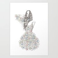 Flower Girl - pattern Art Print