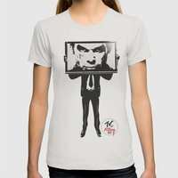 TV IS KILLING US Womens Fitted Tee Silver SMALL