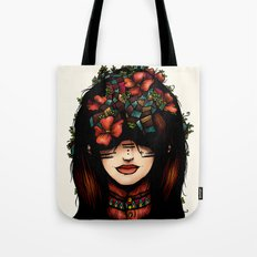 The girl who was thinking about geometry & red flowers Tote Bag