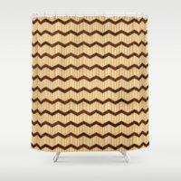 Wooden Chevron Shower Curtain