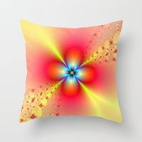 Floral Sprays in Red and Yellow Throw Pillow