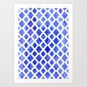 Watercolor Diamonds in Cobalt Blue Art Print