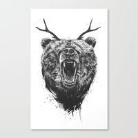 Angry bear with antlers Canvas Print