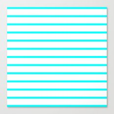 Horizontal Lines (Aqua Cyan/White) Canvas Print