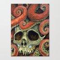 orange tentacles skull Canvas Print
