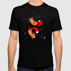 Space Foxes Black SMALL Mens Fitted Tee