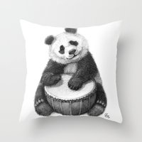 Panda playing percussion G140 Throw Pillow