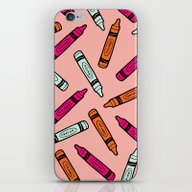 Crayons On Pink Pattern iPhone & iPod Skin