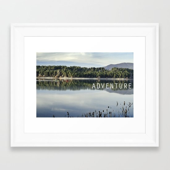 Adventure. Canoeing on the lake.  Framed Art Print