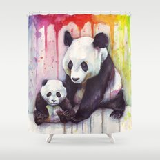 Pandas and Rainbow Watercolor Shower Curtain