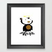 Beware Bear Framed Art Print