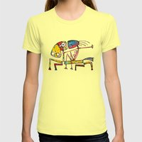 Ballerina riding Womens Fitted Tee Lemon SMALL